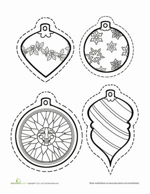 Christmas Winter First Grade Paper Projects Worksheets: Color Christmas Ornaments Worksheet