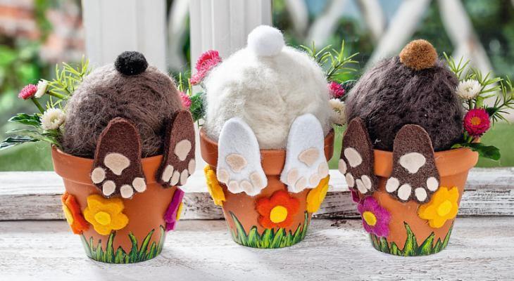 Versteckte Osterhasen aus befilzten Styropor-Eiern - VBS-Hobby.com Schon mal für Ostern vormerken!