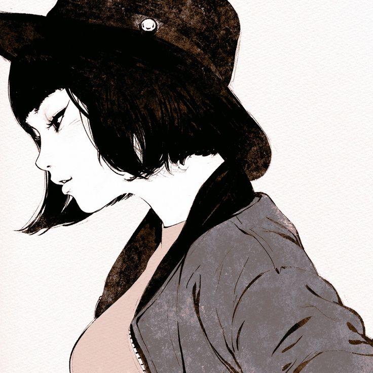 Tumblr: kuvshinov-ilya:  Black Hat   https://www.patreon.com/posts/3633759  Short study from photo in Japanese magazine!