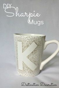 How to make DIY mugs using cheap mugs, OIL based sharpies, and letter print-outs or stickers. Bake @ 150c for 2 hours. An easy and beautiful gift for almost anyone.