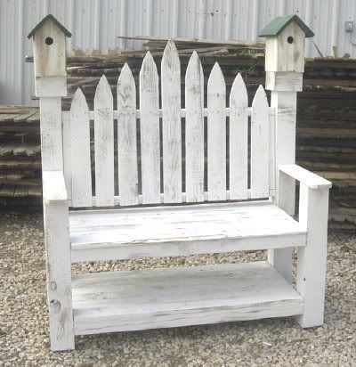 birdhouse bench from old wood