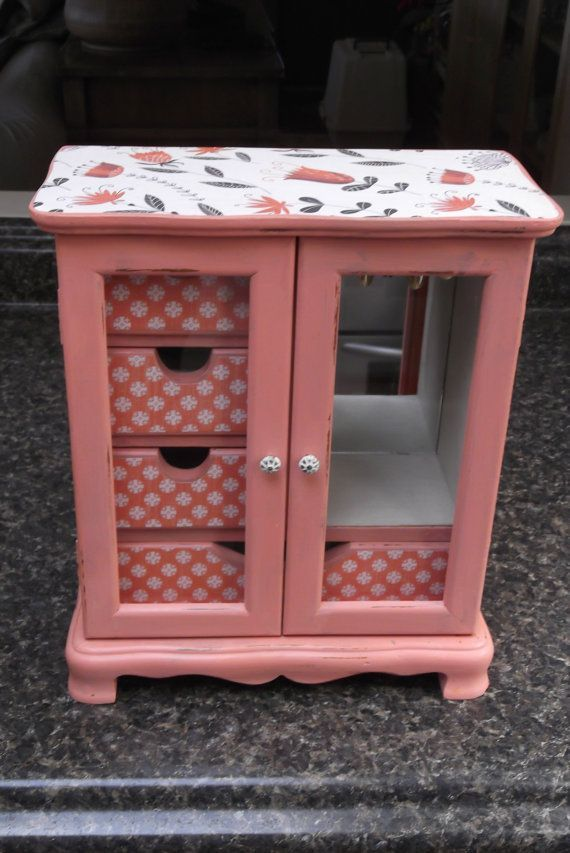$69+$28.50. Eweniques. This medium sized vintage jewelry box is way to cute! Armoir style doors have clear glass to see four drawers that have been decoupage in a petite