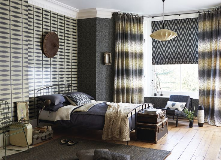 We love to mix different designs together in a monochrome and neutral palette! Fabrics and wallpapers from Scion's Wabi Sabi collection
