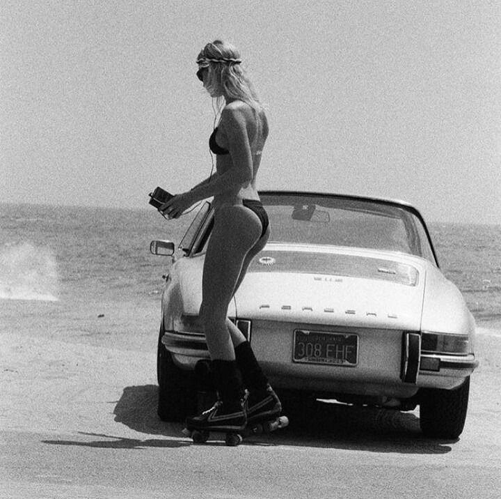 All in one beach Porsche woman…….