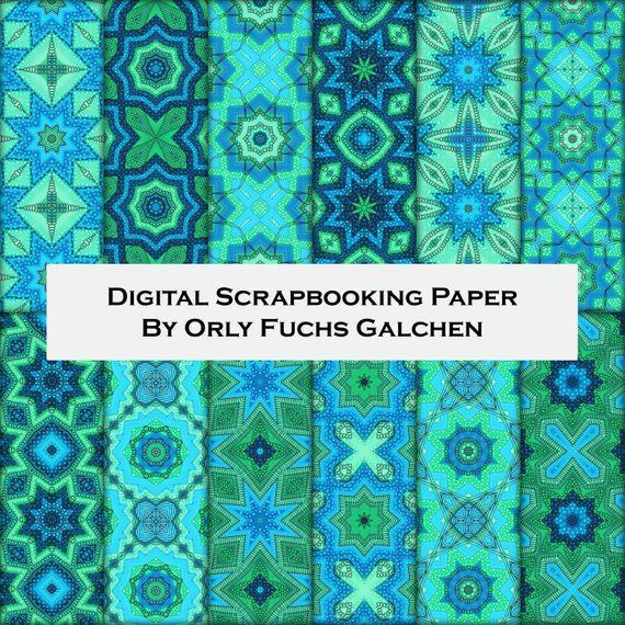 picture about Decorative Paper Printable identified as Electronic Paper Sheets inside of Blue, Eco-friendly and Turquoise. Patterned
