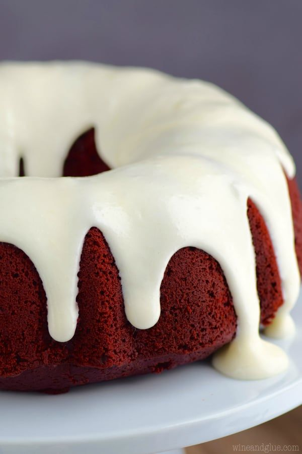 This Red Velvet Sour Cream Bundt Cake With Cream Cheese Buttermilk Frosting Is Moist Rich And Packed With Them Most Amazi With Images Yummy Cakes Pound Cake Recipes Cake