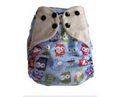 Dotty Bots Mixers - One size Pocket Nappy, Bamboo Boosters, Poppers, It's a Hoot Blue