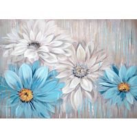Blue & White Daisies Oil Painting Canvas Wall Art