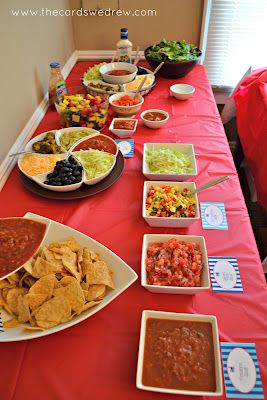 The hostess opted for a fun taco bar with three different meat choices, a vegetarian choice, and 5 different salsas for their guests to choose from. Everyone really liked the idea.