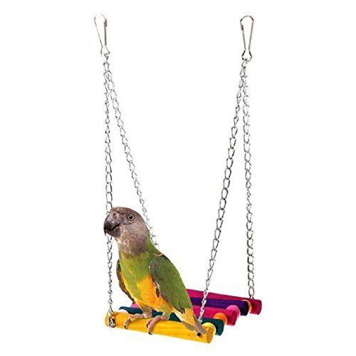 Malloom Animal Balançoire Perroquet Oiseau Perruche Calopsitte Cage Hamac Jouet Accroché