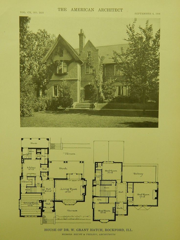 House of Dr. W. Grant Hatch, Rockford IL, 1916. Brust & Philipp. Lithograph