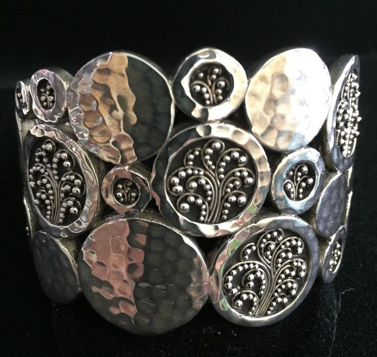 LARGE VINTAGE LOIS HILL ORNATE FILIGREE AND HAMMERED .925  STERLING SILVER CUFF #Cuff