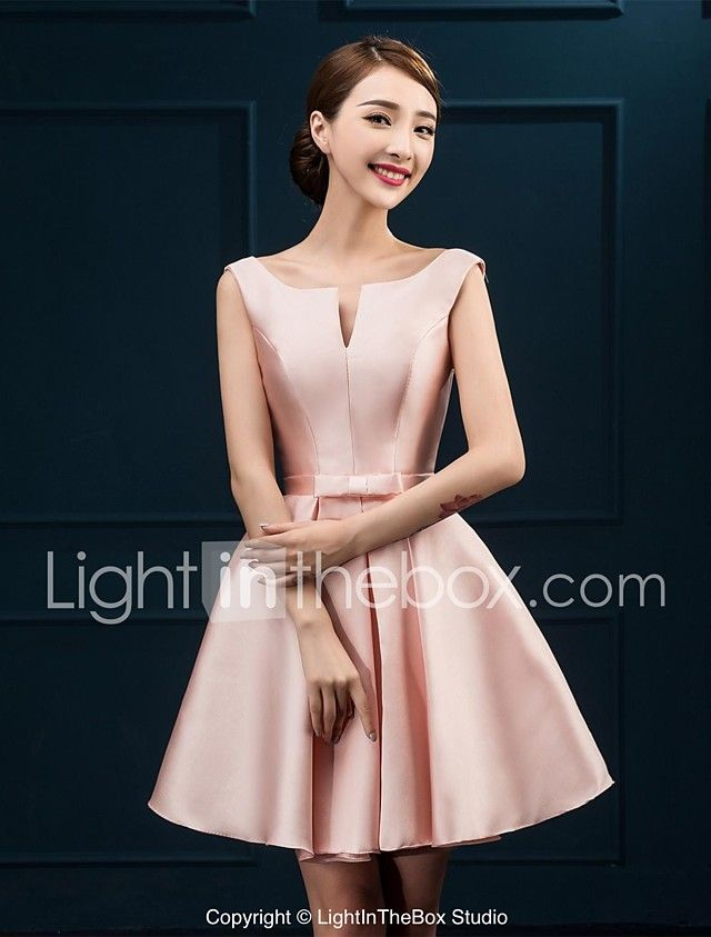 A-Line Notched Knee Length Satin Bridesmaid Dress with Bow(s) by JUEXIU Bridal 2017 - $59.99