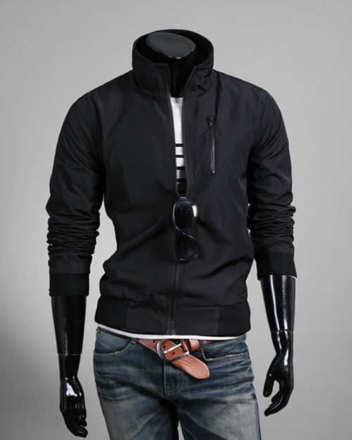 $47.34  #MotorcycleJackets For Men Fashion Solid Stand Collar Zip Long Sleeve Men Motorcycle Jackets Discount Online Shopping - Motorcycle Jackets For Men