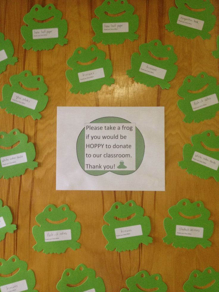 Please take a frog if you would be HOPPY to donate to our classroom-on my door for open house. Frogs have items such as tissues, index cards, and composition books on them.                                                                                                                                                     More
