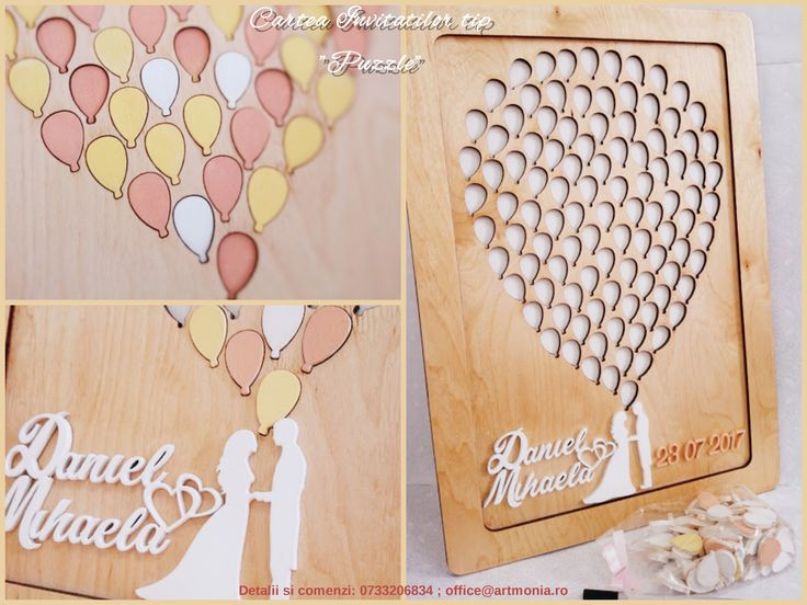 "Alternative ""Puzzle"" Guest Book - hand painted wood - Baloons"
