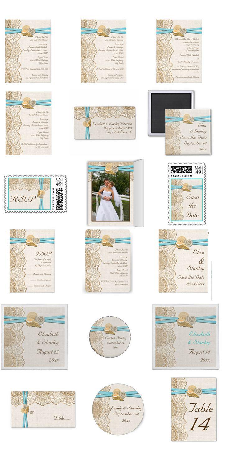 wedding invitations east london south africa%0A White lace  aqua ribbon and seashells on burlap beach wedding invitations   bridal shower invites