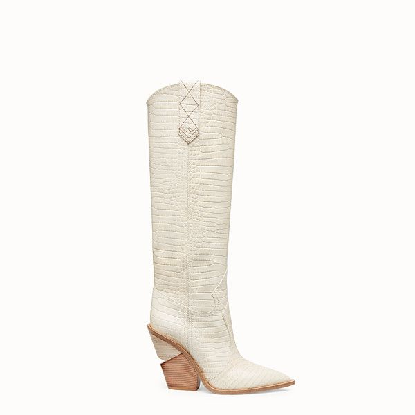 Fendi boots, White leather ankle boots