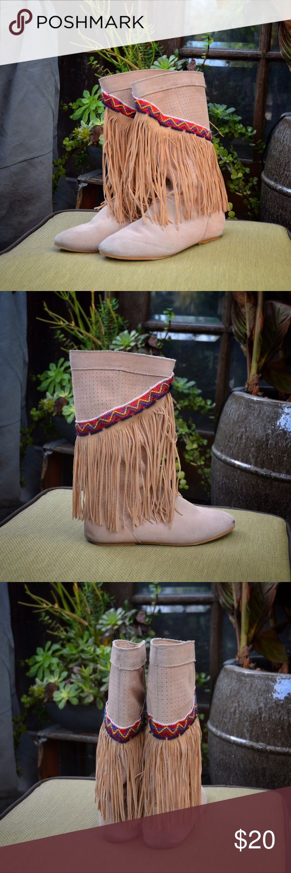 Mid-calf Fringe Boots | Rampage Cute slip on, round toe, faux suede, fringe boots. Indian patterned wrap around band and leather upper, heel .5 inches.  Boots have imperfections on the toes and backing, could possibly be cleaned off.   I fit these and I am a 7.5 Rampage Shoes Heeled Boots