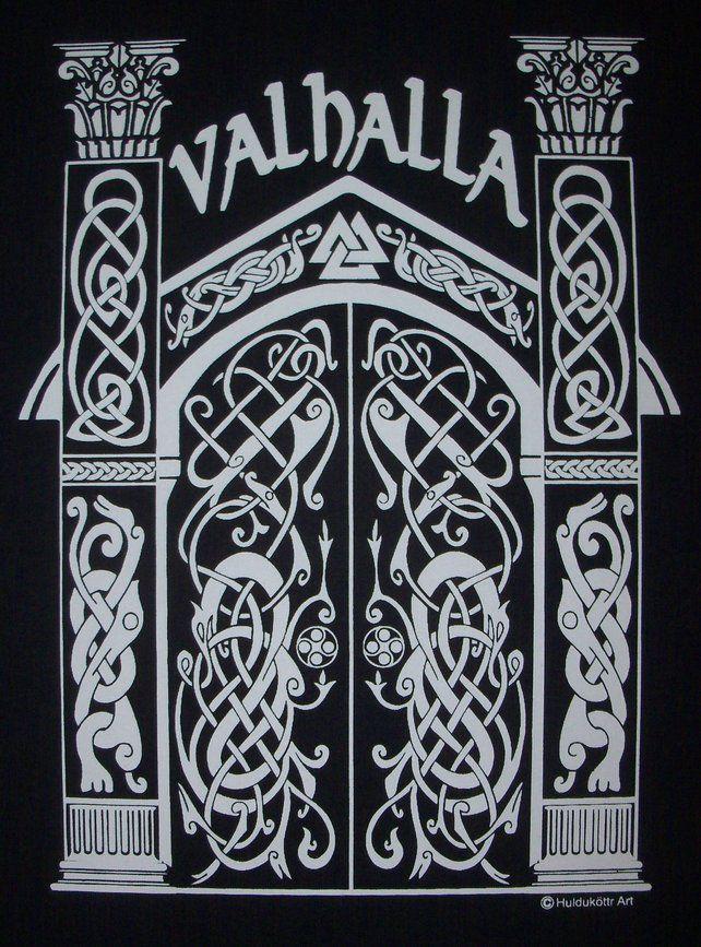 ff4f52f4 Valhalla Norse Heathen Viking Hall of the Fallen Rune T-Shirt WH ...