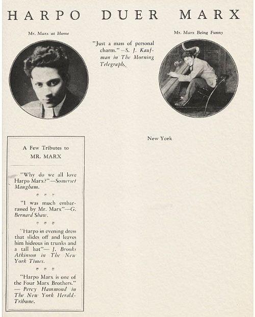Classic Comedian Harpo Marx's Humorous Letterhead