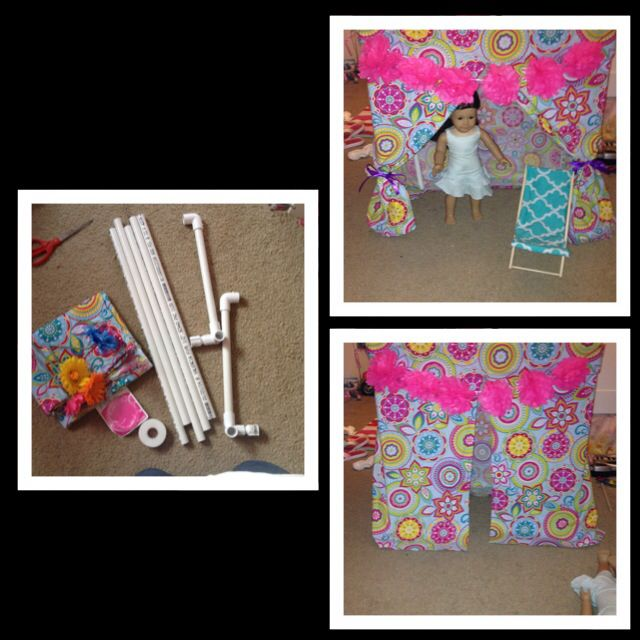 """American Girl doll cabana. 6 precut to 2 feet 1/2"""" PVC pipe and connectors. 2 yards your choice of fabric, hem the edges with the iron on hem stuff. We bought a small garland of the poms and attached with small safety pins. Total cost like $15."""
