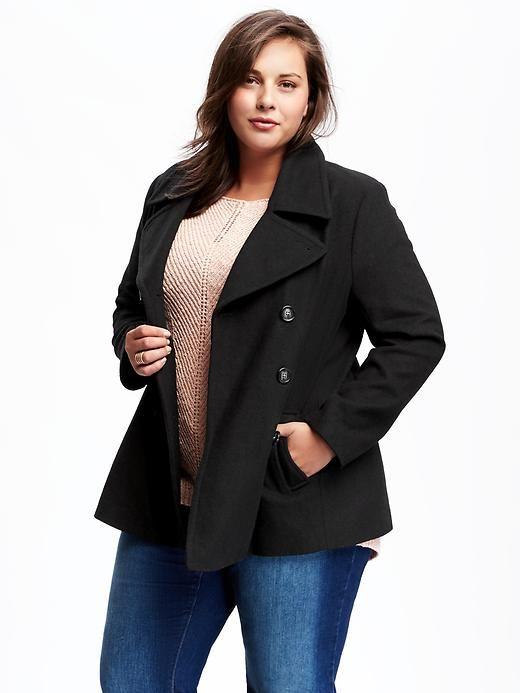 Plus Size Wool-Blend Peacoat