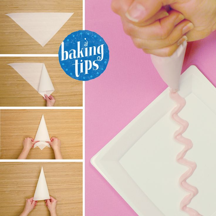 No piping bag? No problem! Cut and fold parchment paper for a DIY frosting bag.