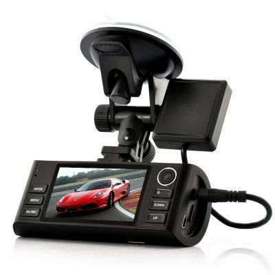 "Camera Video Auto DVR Dual-HD ""Napravljat"" – GPS Logger, G-Sensor, Night Vision, HDMI Output, 4x Zoom = 73,72 Euro http://camere-spion.info/auto/?page_id=30"