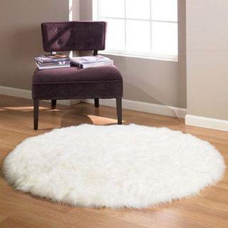 Faux Fur Sheepskin Shag Area Rug White (5'x5') Round