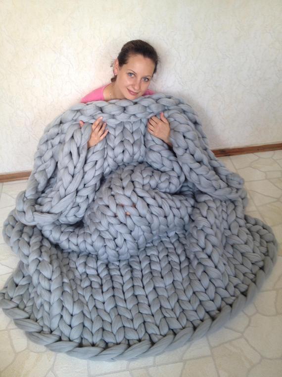Thick Knit Blanket Chunky Knit Blanket Chunky Knit Throw Merino