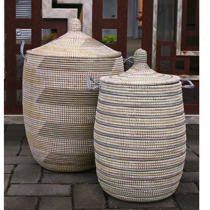 Woven African Laundry Clothes Hamper Grey Amp Yellow