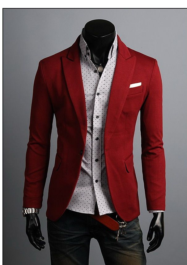 Mens Slim Fit Red Blazer