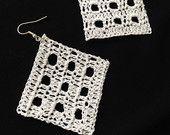 Crochet Diamond Shape Earrings in White Colour