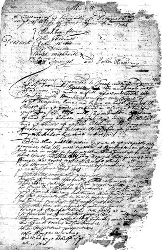 first page of minute for June 27, 1703, West Jersey Council of Proprietors