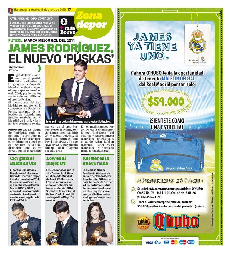James Rodríguez, el nuevo 'Puskas'. Textos: Luis Miguel Arango J. Empresa: Q'hubo Barranquilla.