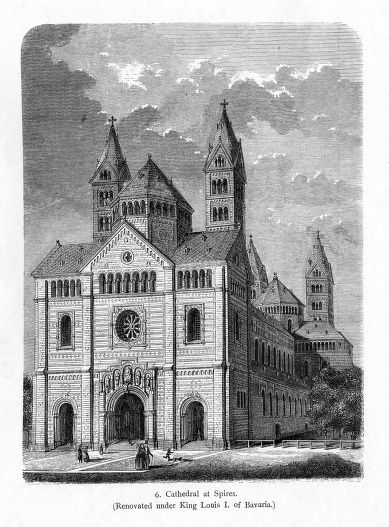 Imperial Cathedral, exterior, begun 1030, rebuilt 1082, view from west, German Romanesque