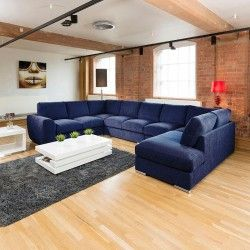 Extra Large Sofa Set Settee Corner Group U / L Shape Blue 4.0 X 2.6m Part 77