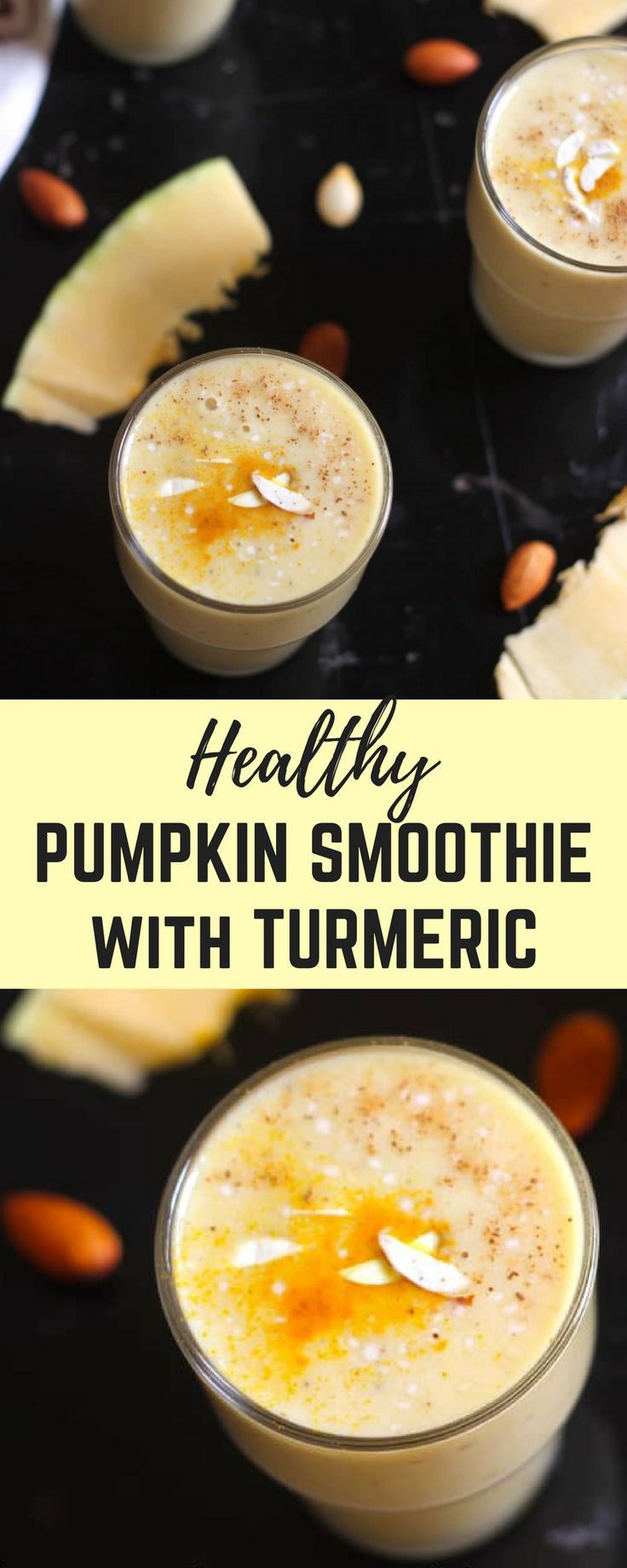 Healthy Pumpkin Smoothie with Banana, Turmeric, Almonds and Honey - 5 minutes of prep at night, and enjoy this super healthy, filling breakfast in just 2 minutes!