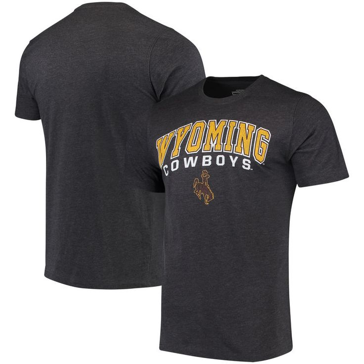 Wyoming Cowboys Colosseum Distressed Arch Over Logo T-Shirt - Charcoal