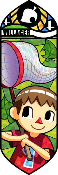 The vector illustration of the stained glass mosaic of the Villager from Animal Crossing for Super Smash Bros. 4.  This is probably my least favorite of all of the stained glass mosaics, because he doesn't really match his in-game character too much.  It's as if the artist wanted to make a cross between a real life kid and what the villager actually looks like in Animal Crossing.  The net looks great and has many different blends of CMYK colors and looks really cool.