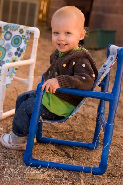 """DIY Toddler Chairs Made out of PVC Pipe Tutorial - 8 elbow pieces, 6 T-shaped pieces, 1 length of 3/4"""" PVC Pipe. kids put these together."""
