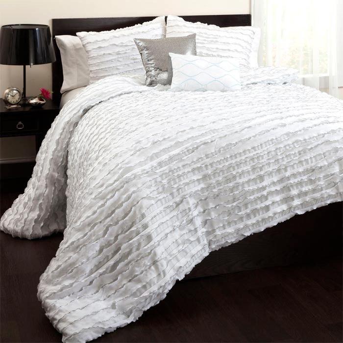 5 Piece Moderna #Ruffled #comforter set in #white.