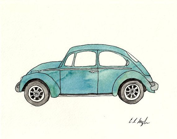 ORIGINAL WATERCOLOR PAINTING Blue Volkswagen Beetle Vintage Car Illustration  -Measures 8x10 inches  -Painted with High Quality Watercolor