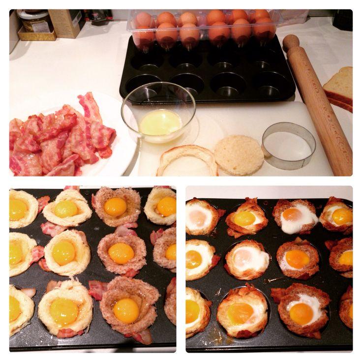 Cestini di pane...uova e bacon al forno