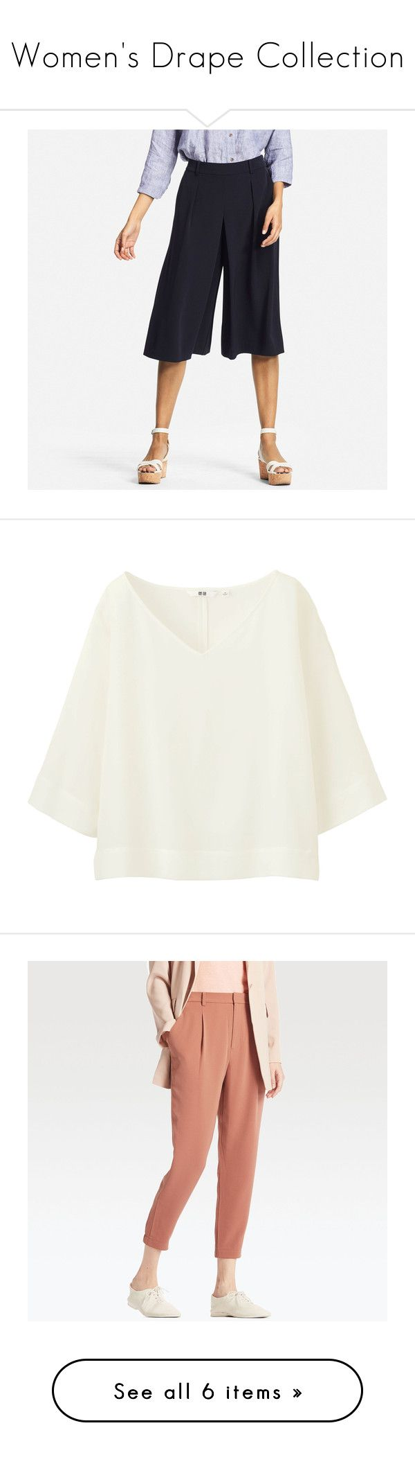 """Women's Drape Collection"" by uniqlo ❤ liked on Polyvore featuring navy, uniqlo, tops, blouses, off white, formal tops, 3/4 sleeve v neck top, 3/4 length sleeve tops, 3/4 sleeve tops and v neck blouse"