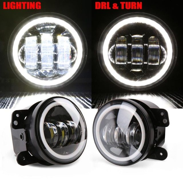 4 Inch Round Led Fog Light Headlight 30w Projector Lens With Halo Drl Lamp Offroad For Jeep Wrangler Jk Dodge Hum Jeep Wrangler Jk Projector Lens Jeep Wrangler