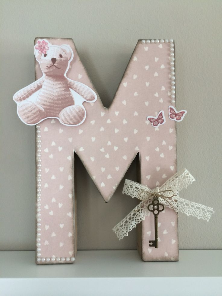 Vintage M letra decorada scrapbook