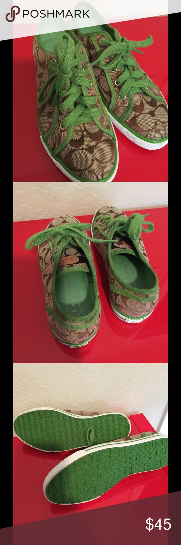 Brown and green coach tennis shoe 6 Like new tennis shoe  Authentic Coach  Size 6M Coach Shoes Athletic Shoes