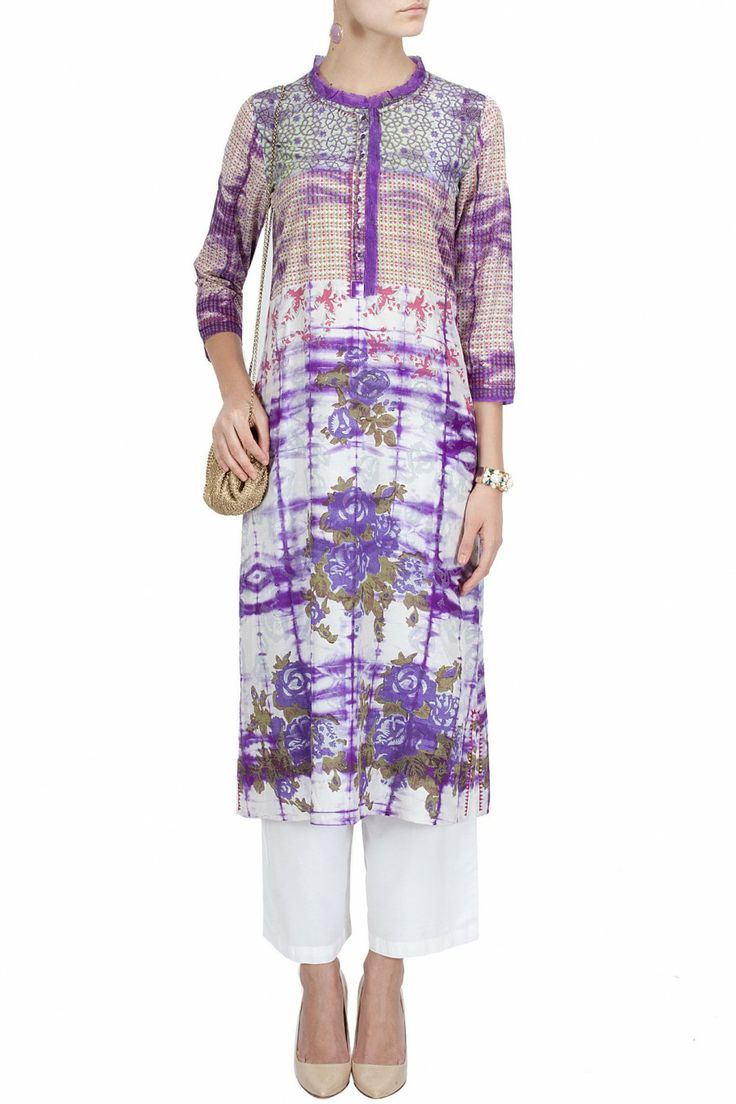 Purple and white tie and dye tunic with trousers BY KRISHNA MEHTA.